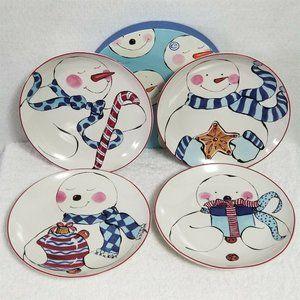 """Rosanna Christmas Plates Snowman 8"""" Set Of Four"""